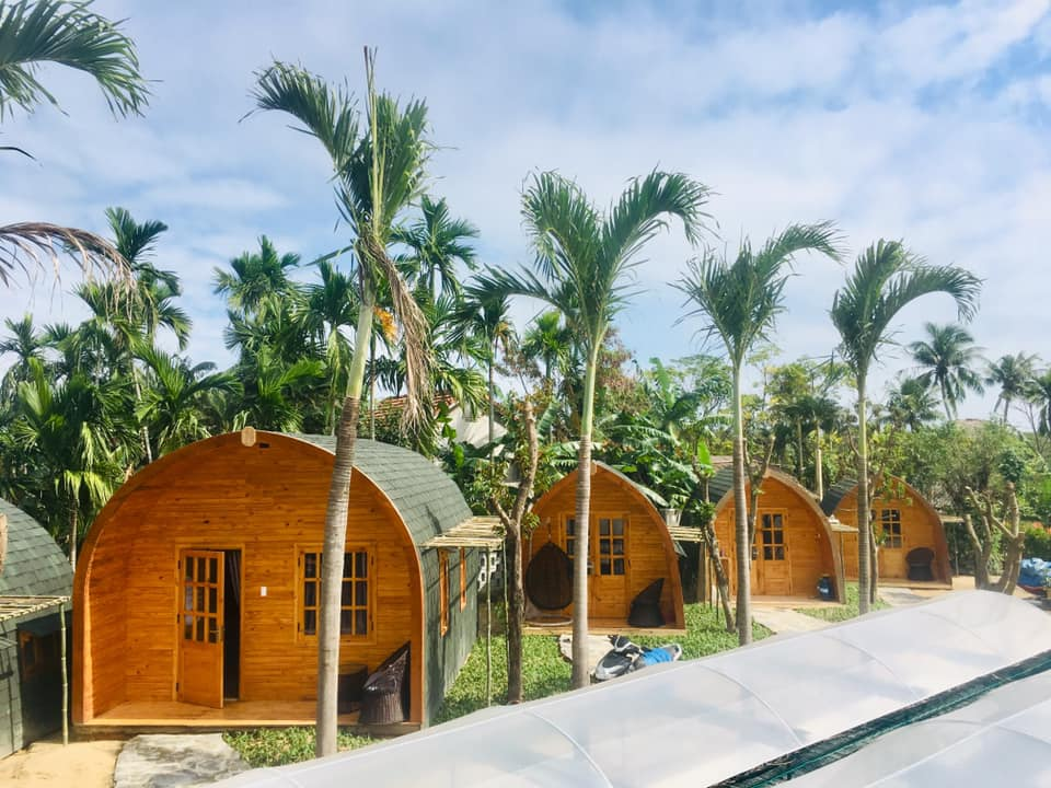 Khu homestay là những bungalow gỗ nằm xen giữa những mảng xanh mát mẻ