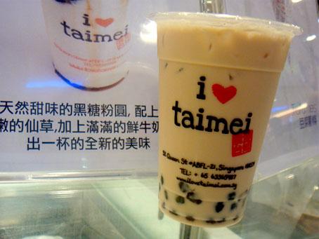 I love taimei chỉ có vài tiệm ở Singapore, nước uống cũng không đặc biệt nhưng hạt trân châu to, dai, trong đó trân châu khoai lang ghi điểm với khách hàng.