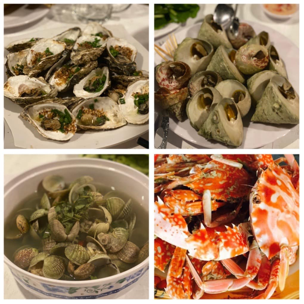 Hải sản, seafood, oyster, hào, nghêu, clams, blue crab, ghẹ tươi sống