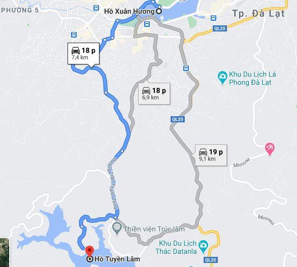 Click xem ngay đường đi từ Hồ Xuân Hương đến Hồ Tuyền Lâm