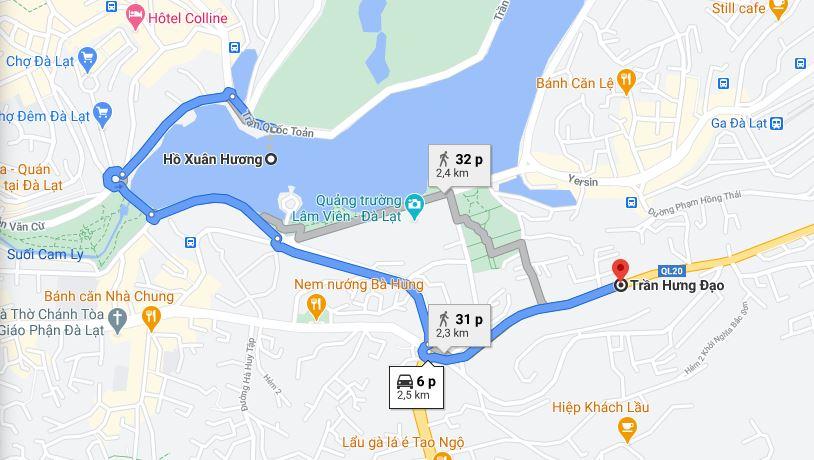Click xem ngay đường đi từ Hồ Xuân Hương đến đường Trần Hưng Đạo