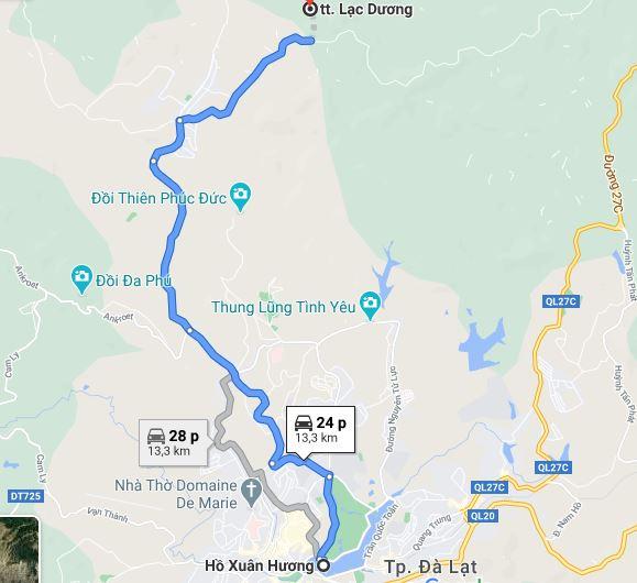 Click xem ngay đường đi từ Hồ Xuân Hương đến Mộng Đào Nguyên